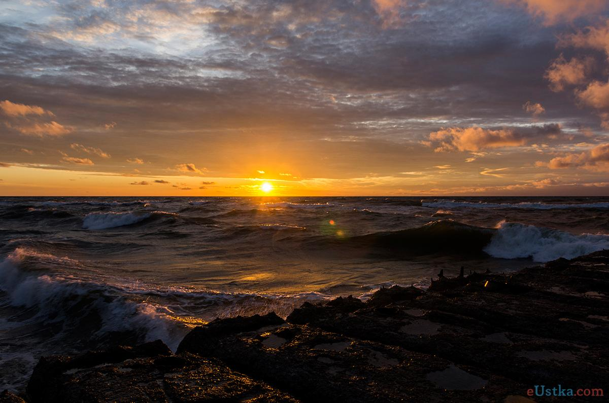 Zachód słońca - Ustka 3-molo c