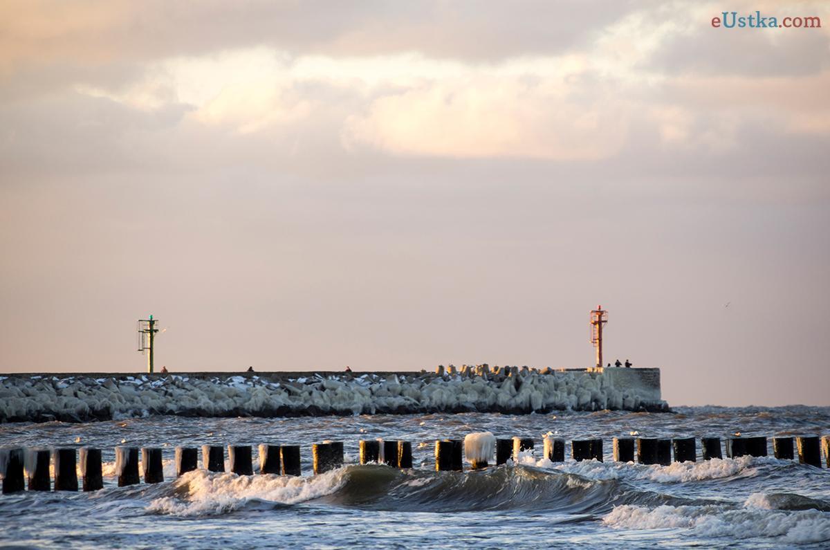 Ustka plaża wschodnia - zima 23-01-2014 2