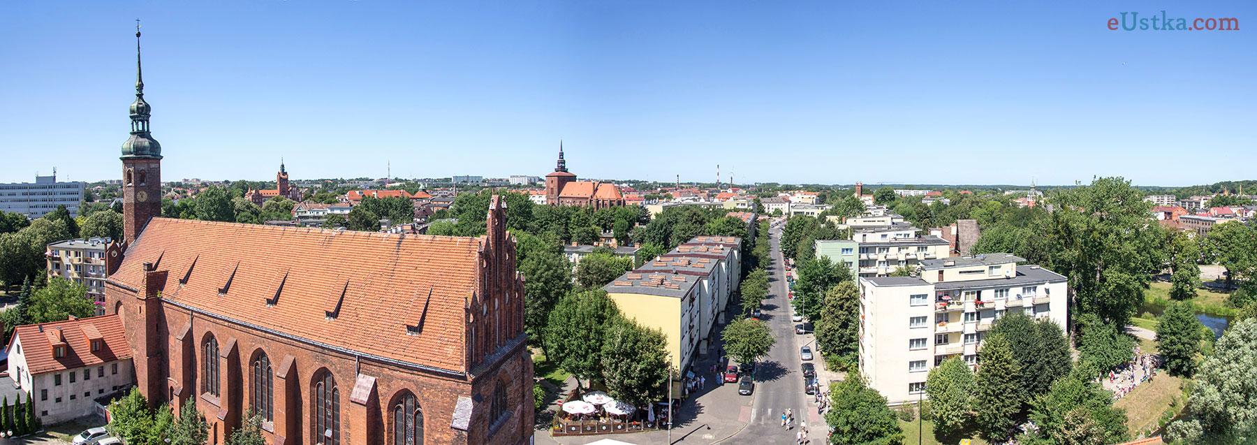 Panorama - widok z wieży zamkowej w Słupsku