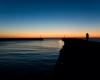 Ustka - zachód słońca, pierwsze molo