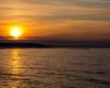 Ustka - zachód słońca, zima 2