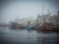 Ustka - zachodnia strona portu podczas mgły